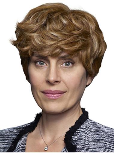 Curly Short 100% Hand-tied Blonde Layered Best Human Hair Wigs