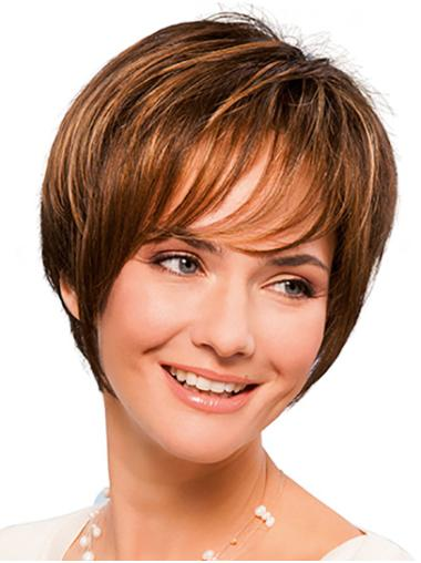 """8"""" Straight Short Copper Synthetic With Bangs Hand Tied Wigs"""