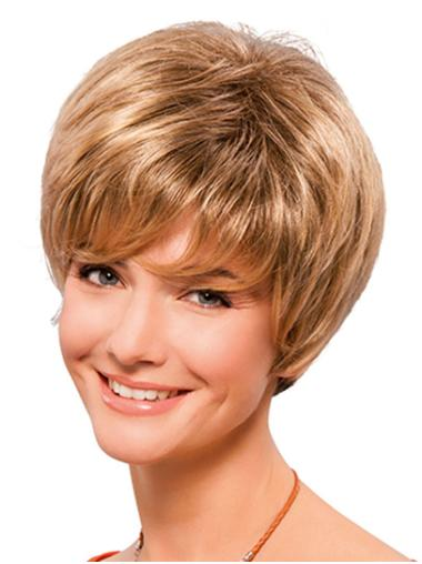 "Synthetic 8"" Straight Short Blonde Classic Wigs"