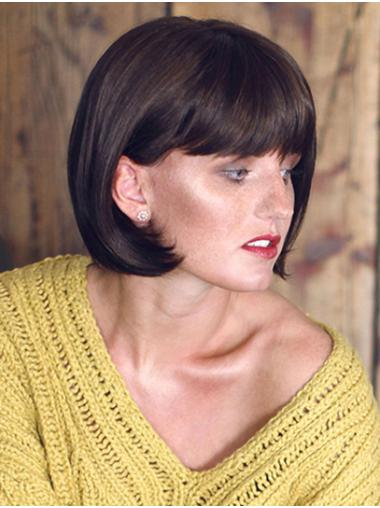 """Black Straight 10"""" Synthetic Bobs Monofilament Wigs"""
