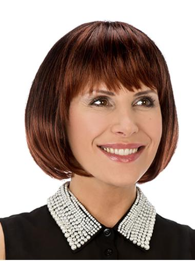 "Copper Straight 10"" Synthetic Bobs Monofilament Wigs For Women"
