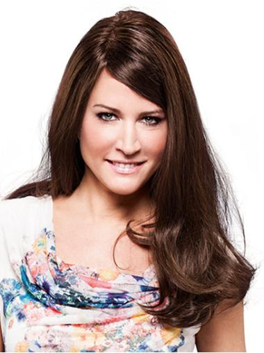 Wavy Long 100% Hand-tied Brown With Bangs Cheap Human Hair Wigs