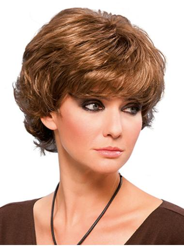 "8"" Short Blonde Wavy Synthetic Layered Cheap Lace Front Wigs"