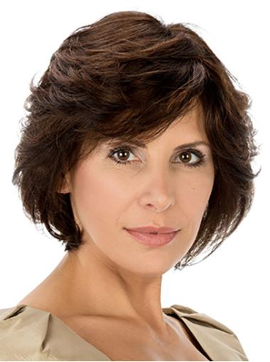 """Synthetic 10"""" Wavy Chin Length Brown Best Quality Classic Wigs"""