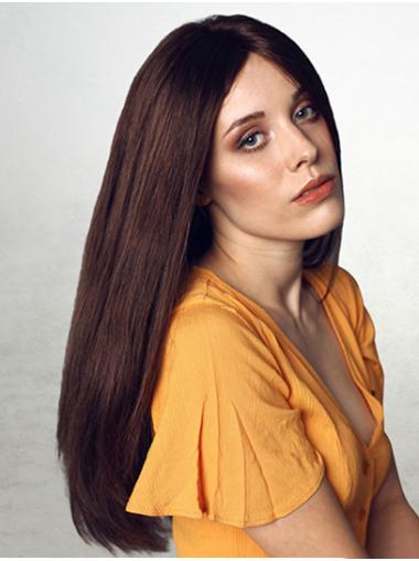 Straight Long 100% Hand-tied Brown Without Bangs Human Hair Wigs For Women