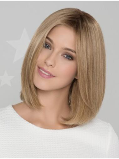 """Blonde Straight 12"""" Remy Human Hair Bobs Good Monofilament Wigs"""