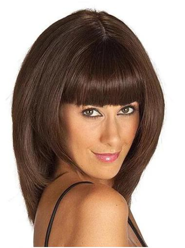 """14"""" Shoulder Length Brown Straight Synthetic With Bangs Women Lace Front Wigs"""