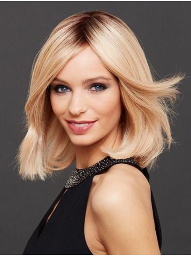 Chin Length Straight Monofilament Blonde Bobs Sleek Human Hair Wigs