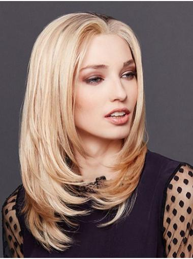 """14"""" Shoulder Length Straight Blonde Remy Human Hair Monofilament Wigs Gorgeous"""