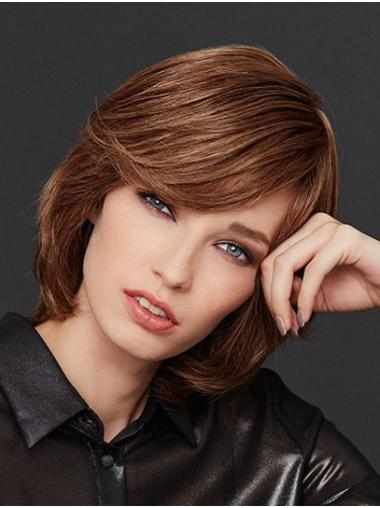 Chin Length Straight Monofilament Brown With Bangs Women Wig Medium