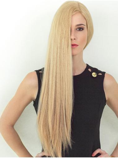 """26"""" Long Straight Blonde Layered Soft Hand Tied Wigs"""
