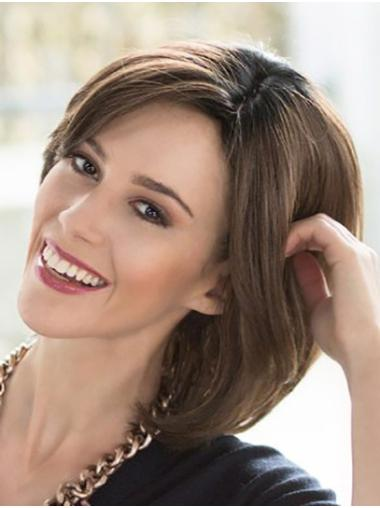 Chin Length Straight 100% Hand-tied Brown Remy Human Hair Buy Lace Wigs