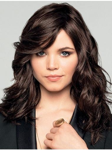 """16"""" Long Wavy Brown Synthetic Discount Monofilament Wigs"""