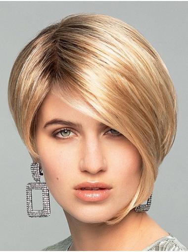 Straight Monofilament Blonde Synthetic Boycuts Convenient Short Wigs