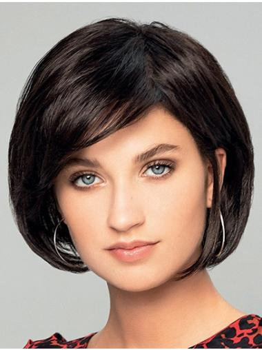 "8"" Short Straight Black Bobs New Hand Tied Wigs"