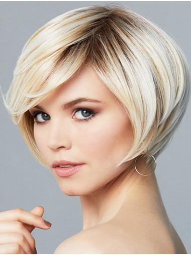 "8"" Short Wavy Ombre/2 tone Synthetic Convenient Monofilament Wigs"