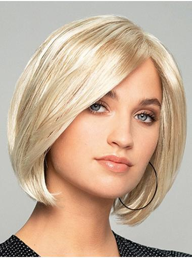 """10"""" Chin Length Straight Platinum Blonde Synthetic Monofilament Wigs Designed"""