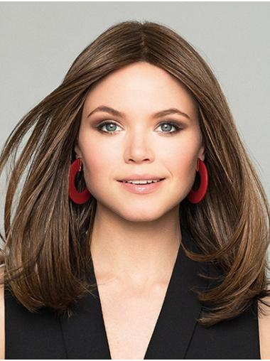 Long Straight Brown Monofilament Layered Synthetic Wigs Online