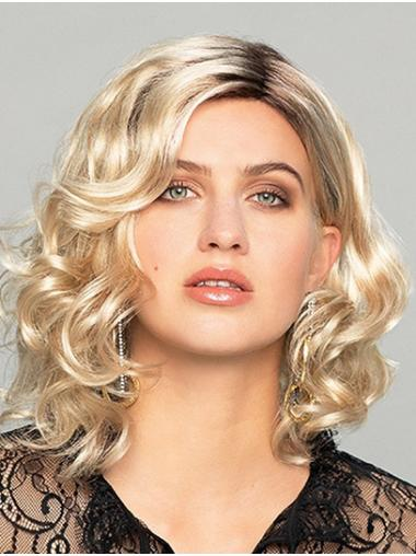 Shoulder Length Curly Ombre/2 tone Monofilament Without Bangs Best Synthetic Wigs