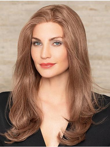 Long Wavy Monofilament Brown Without Bangs 100% Human Hair Wigs