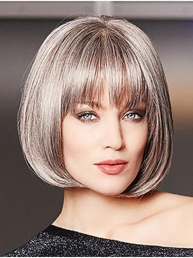 Chin Length Straight Platinum Blonde Monofilament Bobs High Quality Synthetic Wigs