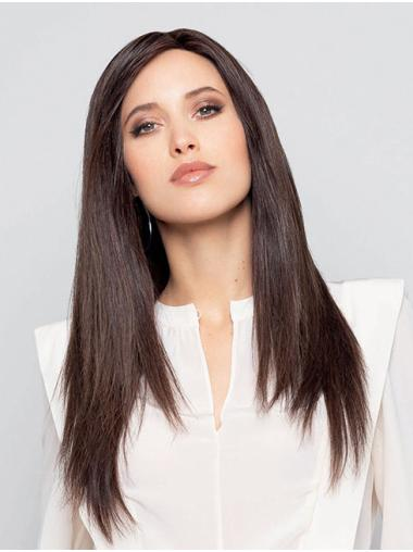 Long 100% Hand-tied Brown Straight Without Bangs Comfortable Human Hair Wigs