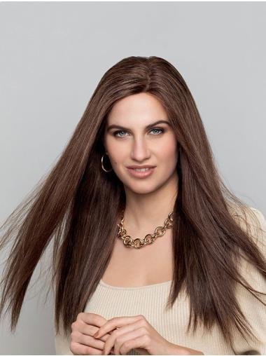 Long Monofilament Brown Straight Without Bangs Natural Looking Human Hair Wigs