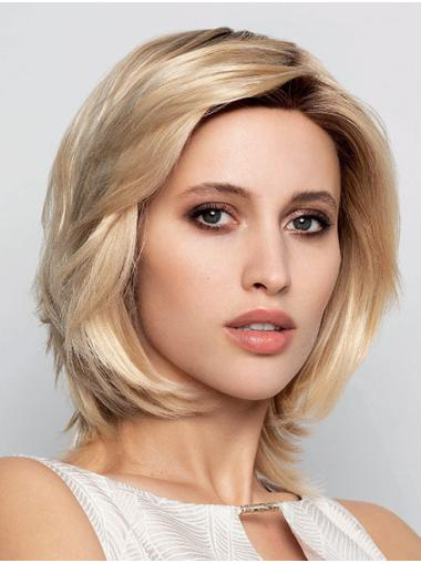Chin Length 100% Hand-tied Blonde Straight Layered Human Hair Wigs For Women