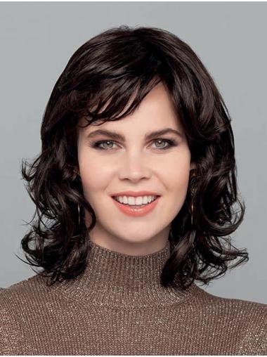 "Curly Black Monofilament Synthetic 14"" Medium Wigs Women"