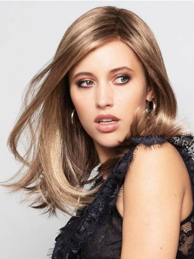 """Straight Blonde With Highlights Monofilament Synthetic 14"""" Great Medium Wigs"""