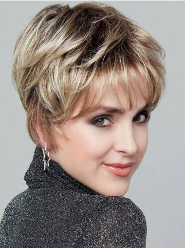 """Straight Blonde With Highlights Monofilament Synthetic 6"""" Incredible Short Wigs"""