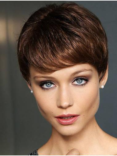 """Straight Brown Monofilament Synthetic 4"""" Ladies Short Wigs"""