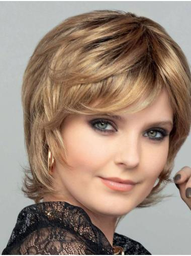 Chin Length 100% Hand-tied Blonde Straight Bobs Synthetic Wigs Women