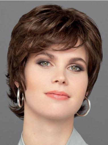 """Wavy Brown Monofilament Synthetic 6"""" Exquisite Short Wigs"""