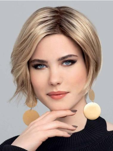 """10"""" Straight Blonde With Highlights Bobs Hand Tied Lace Wigs"""