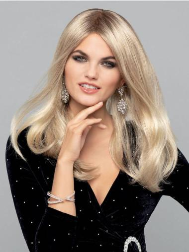 """Straight Platinum Blonde Monofilament Synthetic 16"""" Quality Long Wigs"""