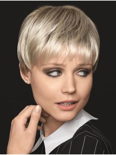 """6"""" Straight Platinum Blonde With Bangs Soft Cap Hand Tied Wigs"""