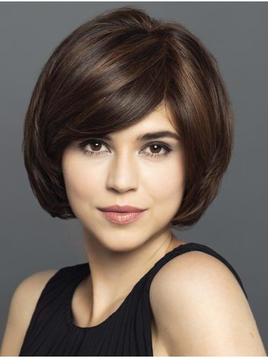 """10"""" Straight Black With Highlights Bobs Hand Knotted Wigs"""