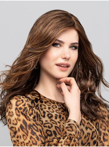 """16"""" Long Brown With Highlights Without Bangs Synthetic Gorgeous Monofilament Wigs"""