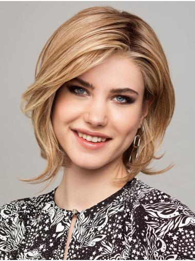 """Chin Length Straight 100% Hand-tied Synthetic 12"""" Bob Wig"""