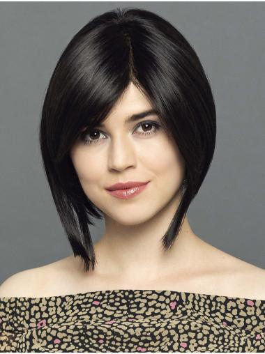 """Chin Length Straight 100% Hand-tied Synthetic 12"""" Ladies Bob Wigs"""