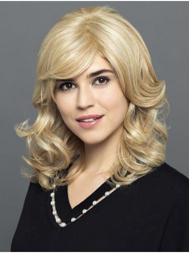 """14"""" Shoulder Length Blonde With Bangs Synthetic Comfortable Lace Wigs"""
