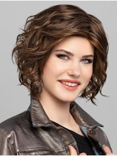 """10"""" Chin Length Brown With Highlights Bobs Synthetic Sleek Lace Wigs"""