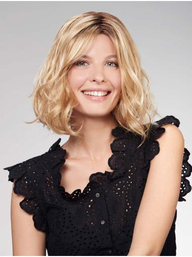 """12"""" Chin Length Blonde Bobs Synthetic Top Monofilament Wigs"""