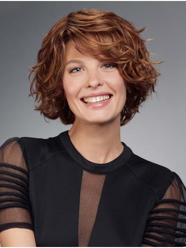 Chin Length Monofilament Auburn Curly Bobs Best Synthetic Wigs
