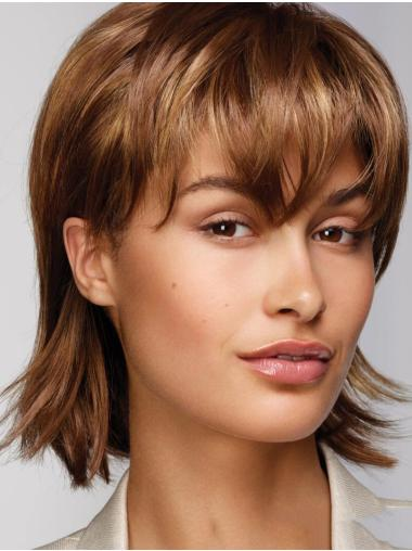 Chin Length Monofilament Brown Straight With Bangs Realistic Looking Synthetic Wigs