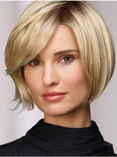 """8"""" Short Blonde Bobs Synthetic Ladies Monofilament Wigs"""