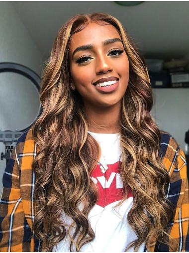 Brown Ombre Colored Lace Frontal Wig Human Hair Wig With Highlight