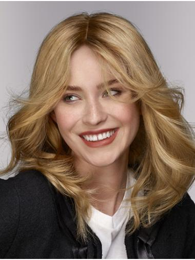 """Wavy Shoulder Length Blonde Monofilament 14"""" Without Bangs Top Quality Lace Wigs"""