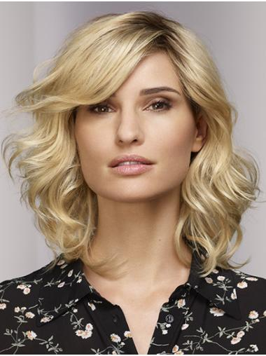 """16"""" Shoulder Length Curly Monofilament Blonde Bobs Womens Synthetic Wigs"""